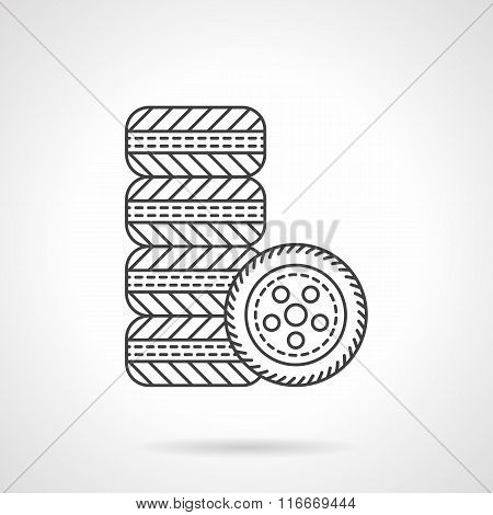 Car wheels flat line vector icon