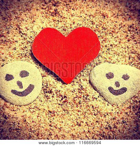 Pebbles And Heart Shape