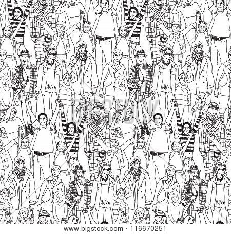 Happy family crowd people and kids black seamless pattern.