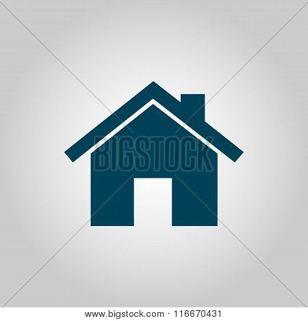 Home Icon, On Grey Background, Blue Outline, Large Size Symbol