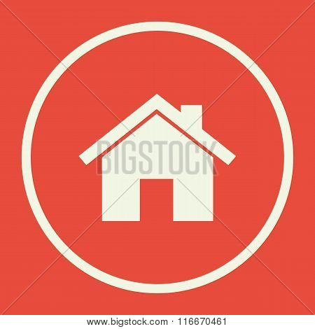 Home Icon, On Red Background, White Circle Border, White Outline