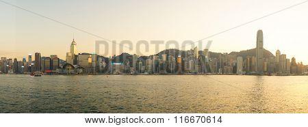 HONG KONG - JANUARY 25, 2016: panoramic view of Hong Kong Island as seen from Tsim Sha Tsui. Hong Kong Island is an island in the southern part of the Hong Kong Special Administrative Region.