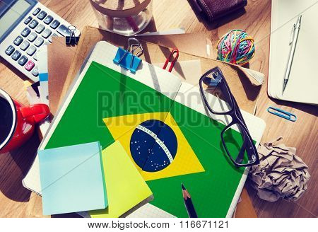 Brazil Flag Stationery Office Desk Messy Concept