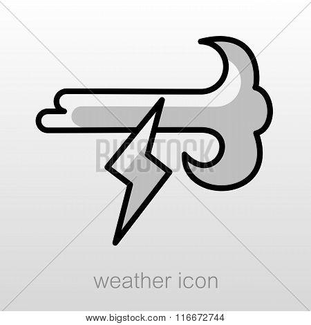 Wind Lightning Icon. Meteorology. Weather