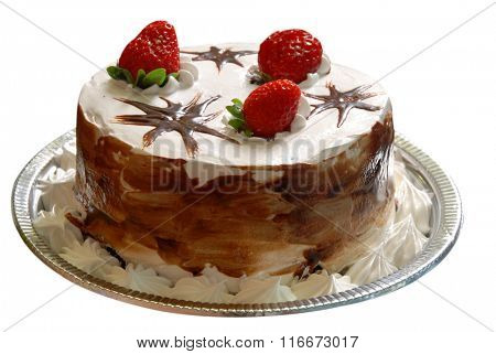 Strawberry birthday cake with whipped cream and chocolate