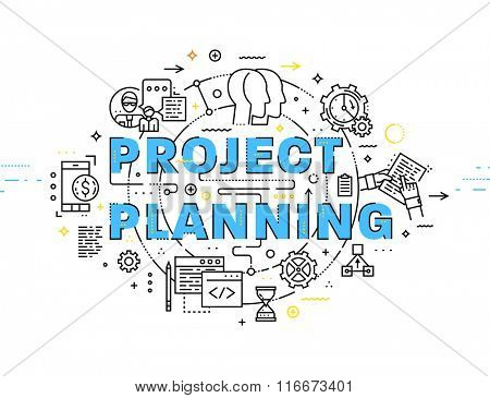 Flat Style, Thin Line Art Design. Set of application development, web site coding, information and mobile technologies vector icons and elements. Project Planning Concept vectors collection.