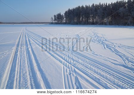 Snowmobile Traces On Snow