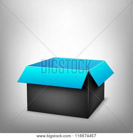 3D black blue box
