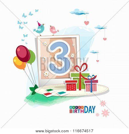 Third Birthday Card. Celebration Background, Balloon, Gift Boxes
