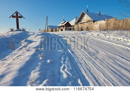 Women's Monastery And Winter Road In Volgoverkhovye