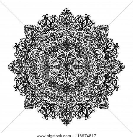 Indian circular pattern mandala coloring book page vector illustration