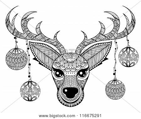 Zentangle vector Reindeer face with chriatmas decoration balls f