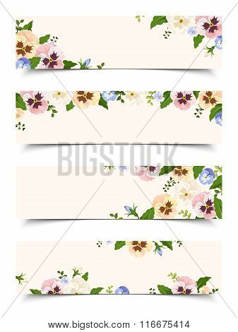 Web banners with colorful pansy flowers. Vector eps-10.