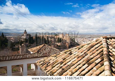 View From White Building In The Generalife Palace Granada, Spain