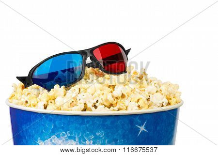 Popcorn box and glasses