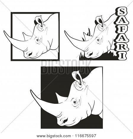 set of logos depicting the rhino