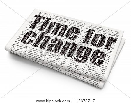 Timeline concept: Time for Change on Newspaper background