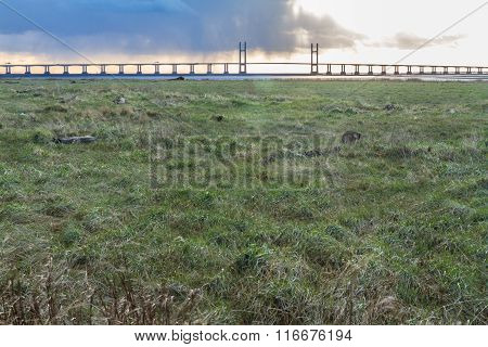 Second Severn Crossing, Bridge Over Bristol Channel Between England And Wales. Five Kilometres Or Th