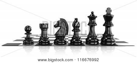 Chess black pieces standing on