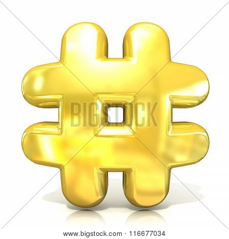 Hashtag number mark 3D golden sign