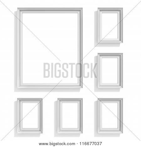 Blank picture frames. Website background template. Composition set