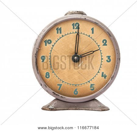 Vintage background with retro alarm clock on white