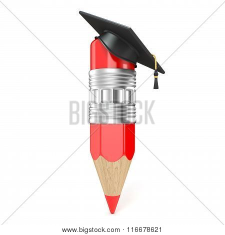 Red pencil with a graduation cap. Education concept. 3D