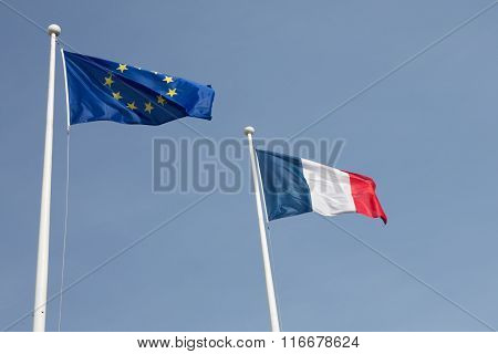 Beautiful French Flag An European Blowing In The Wind