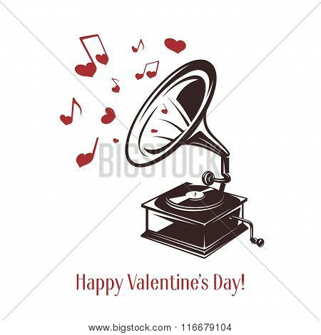 Valentine day card. Vintage gramophone with greeting text. Vector illustration.