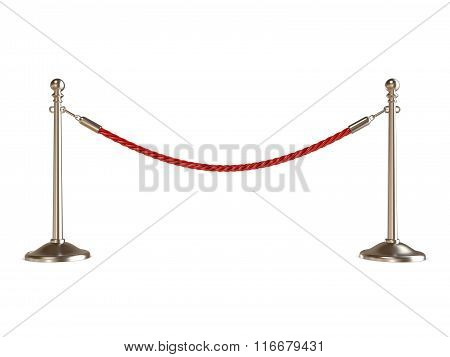Barrier rope on white. 3D render