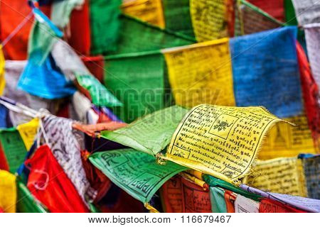 Tibetan Buddhism prayer flags (lungta) with prayer mantra