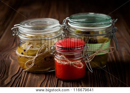 Natural diy pickles and hot chilli sauce