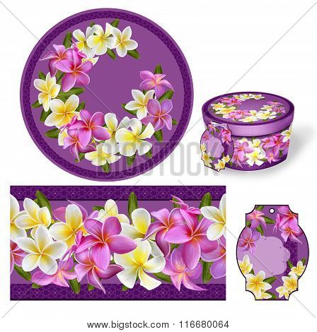 Set For Packaging. Box Round. Label.decoupage. Floral Background. Flower Border. Plumeria Pink And W