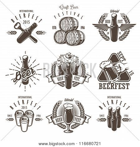 Set of vintage beer festival emblems