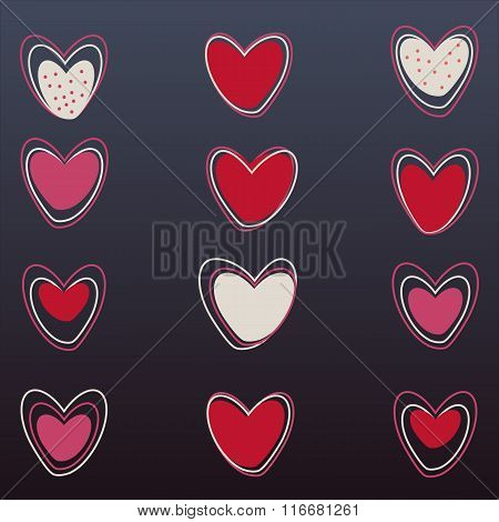 Vector hearts set on black background