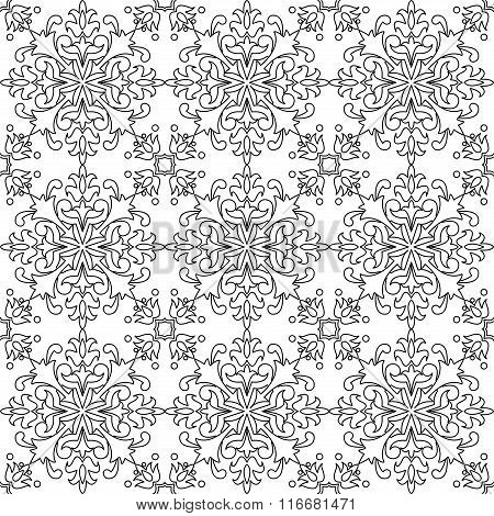 Black and white vector seamless tile pattern background.