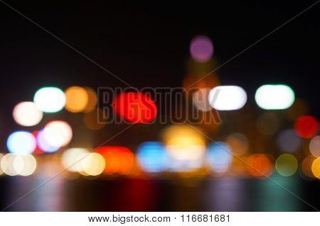 Blured view of the Hong Kong Island at night