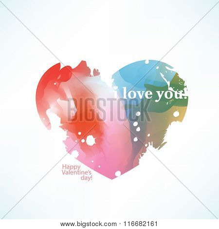 watercolor effect valentine's day heart symbol