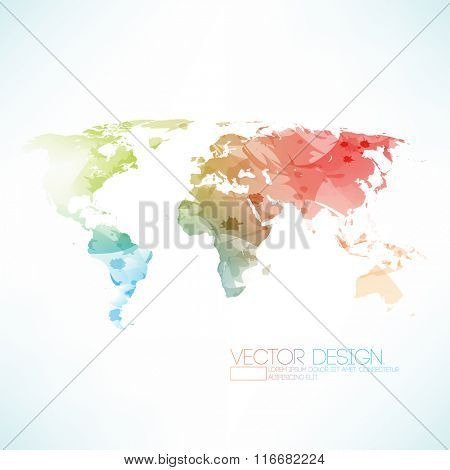 watercolor effect of world map