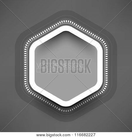 isolated hexagon frame on gray background