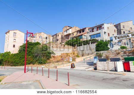 Corsica, Street View Of Resort Town In A Summer Day