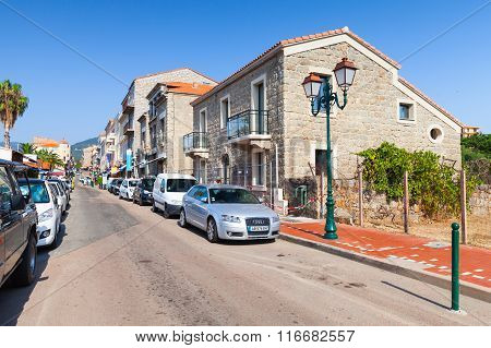 Corsica Island, Street View Of Small Resort Town