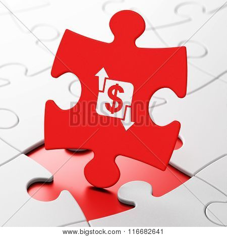 Finance concept: Finance on puzzle background