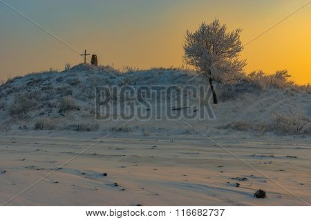 Winter Landscape with ancient burial mound