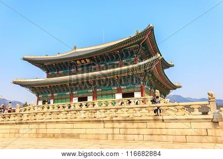 Seoul, Korea - March 8, 2015: Gyeongbokgung Palace, The Old Royal Residence, In Seoul, South Korea O