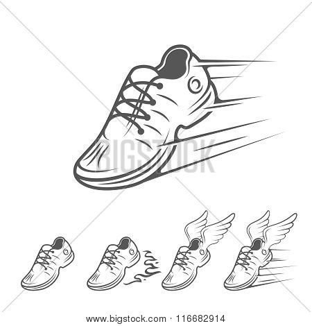 Speeding running shoe icons in five variations