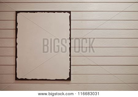 Blank Copy Space Advertisement Poster With Clipping Path, On Light Cream Tone Wooden Background