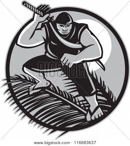 Samoan Ninja On Top Of Coconut Front Circle
