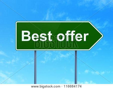 Business concept: Best Offer on road sign background