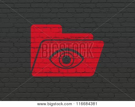 Business concept: Folder With Eye on wall background